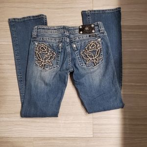 Miss Me Studded flower pocket bootcut jeans
